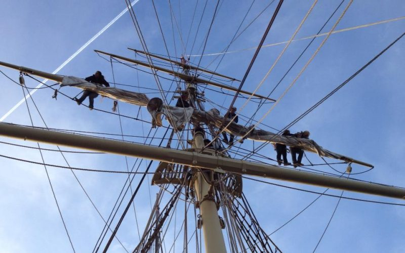 A photo looking up the mast of a tall ship
