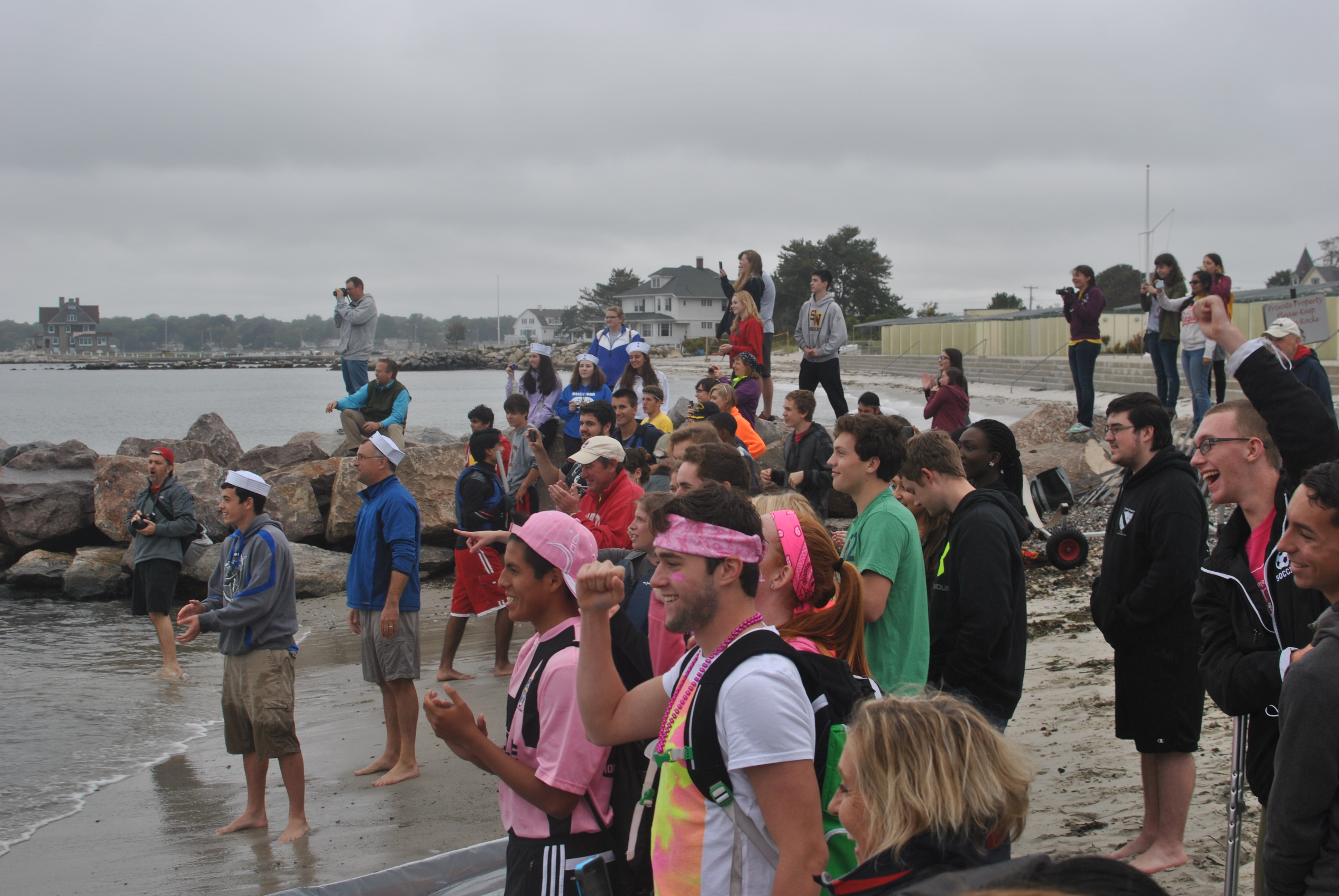 The crowd watching the cardboard boat race
