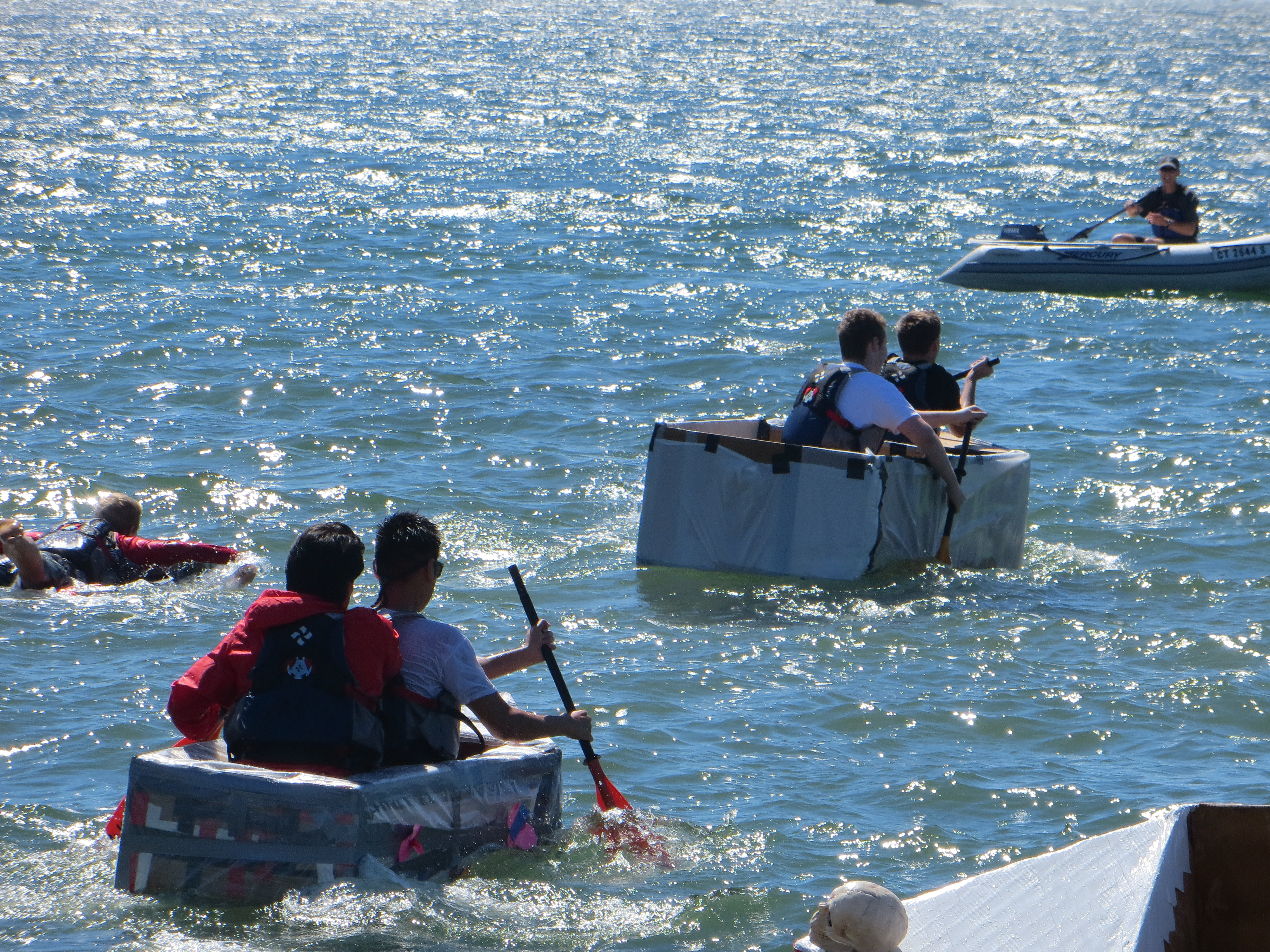 Action scene from the Cardboard Boat Race