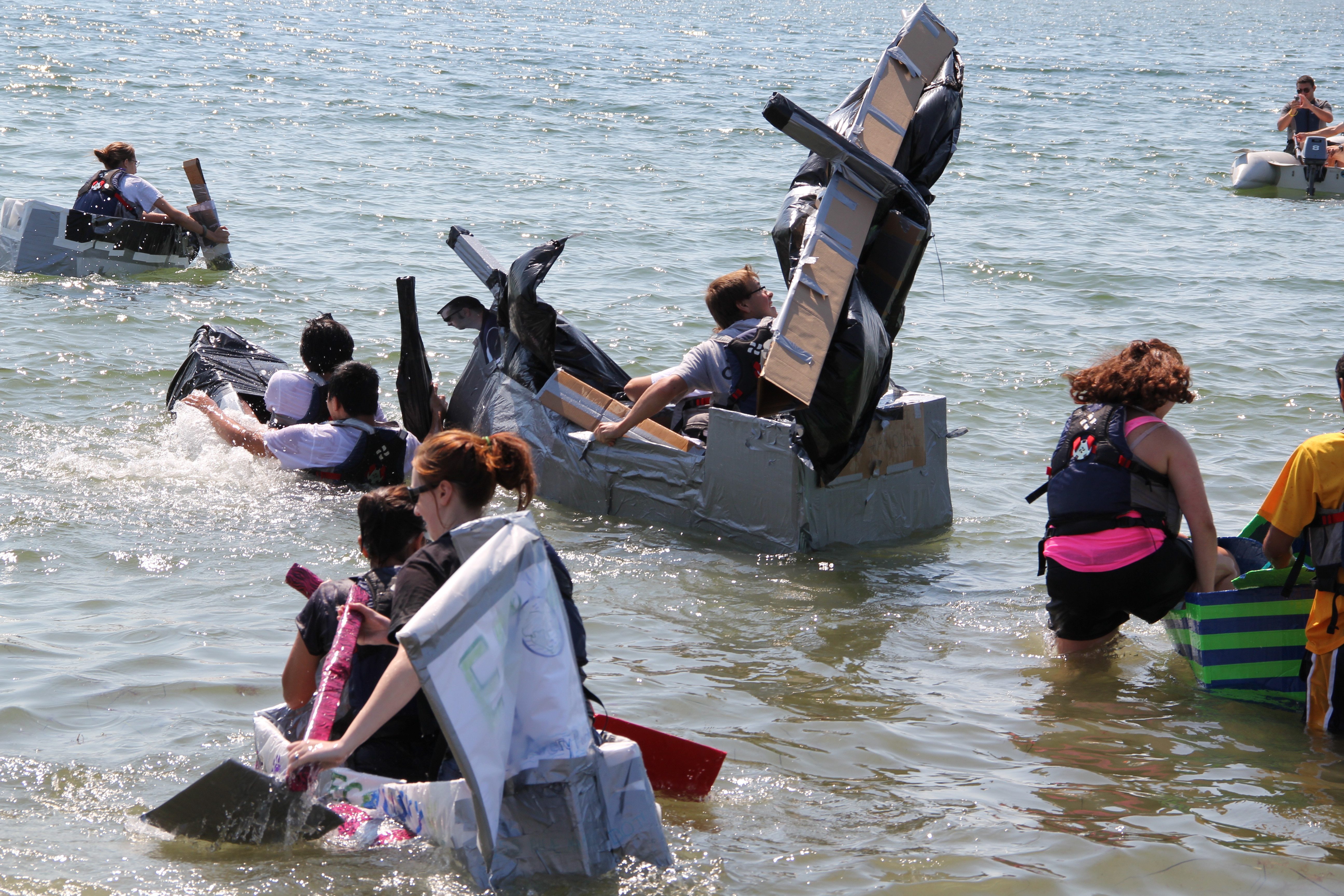 Starting line of the Cardboard Boat Race